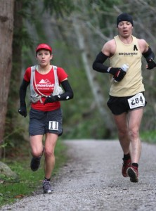 Ellie and I at the 2010 Chuckanut 50k. (photo by Glenn Tachiyama)