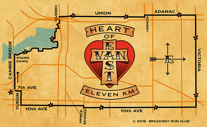 Heart of East Van Run map