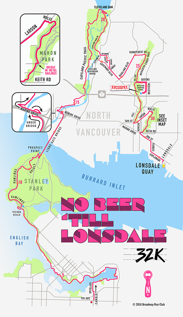No Beer Till Lonsdale 32k Run map