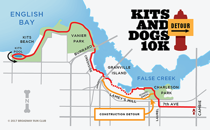 Kits and Dogs 10k Detour map