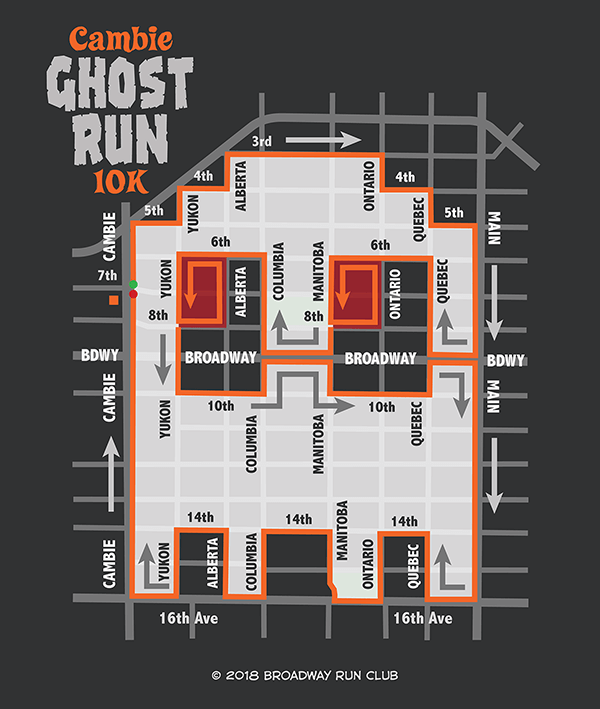 Cambie Ghost Run 10k map