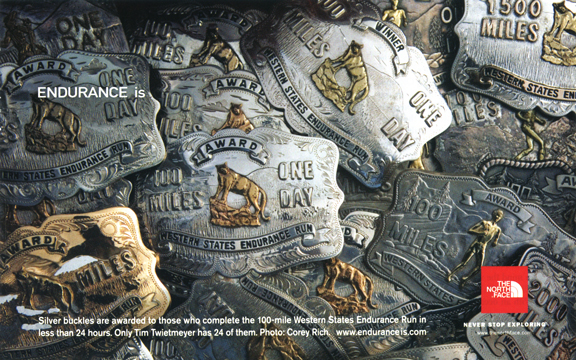 TNF Western States Silver Buckle Ad (Runner's World, June 2006)