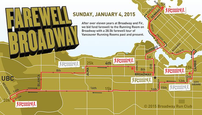 Farewell Broadway Run map