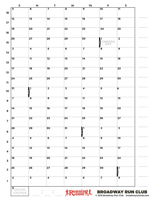 Blank 18-week Fall 2016 Marathon Schedule
