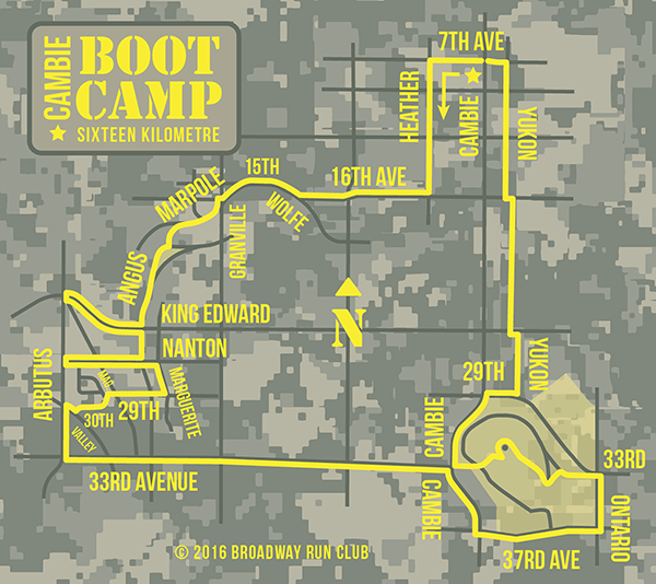 Cambie Boot Camp Run 16k map