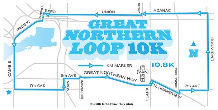 Great Northern Loop 10k map