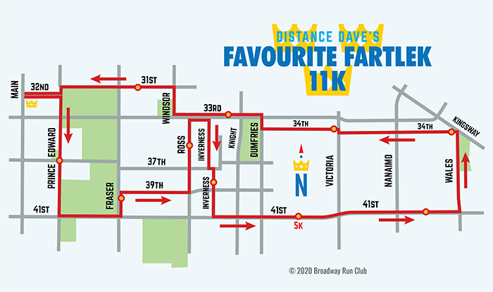 Distance Dave's Favourite Fartlek 11k map